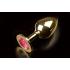 Большая золотистая анальная пробка с кристаллом