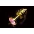 Витая золотистая анальная пробка с кристаллом, малая 7,5х2,7 см